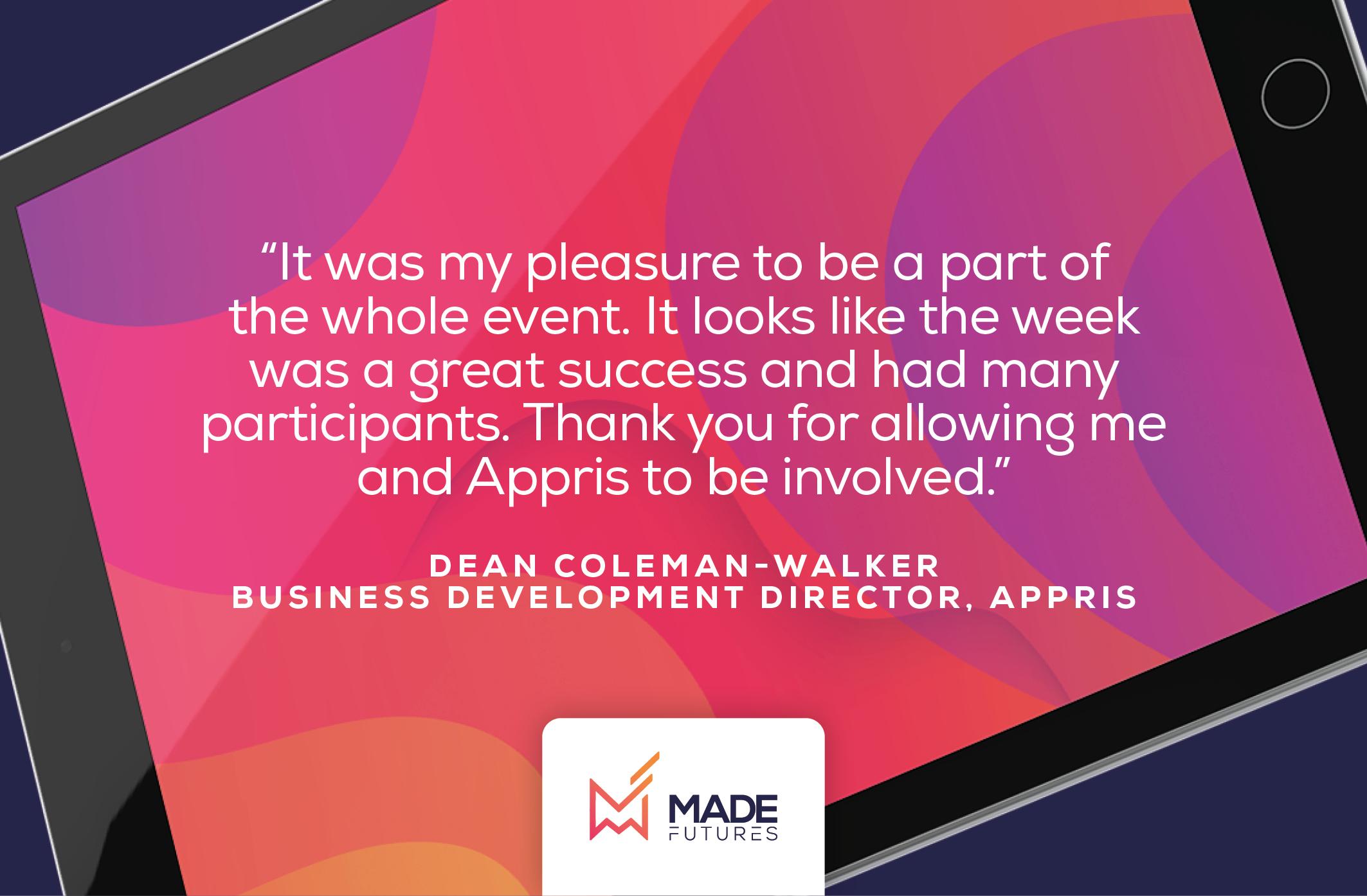 Testimonial by Dean Coleman-walker, Business development director at Appris