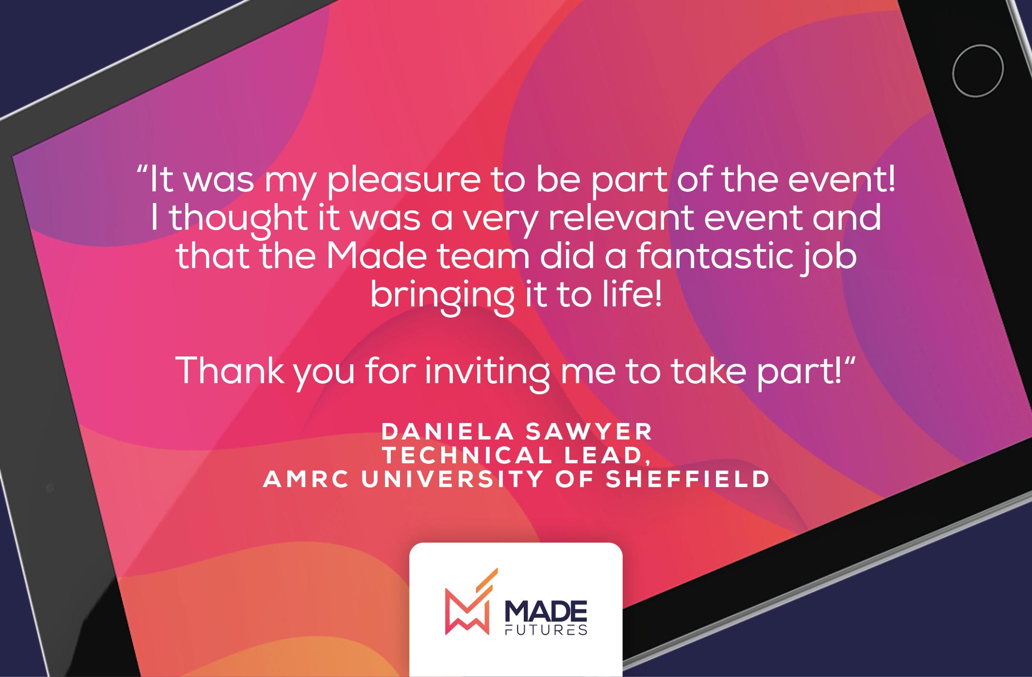 Testimonial by Daniela Sawyer, Technical lead at AMRC University of Sheffield